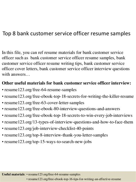 Resume Customer Service In Bank Top 8 Bank Customer Service Officer Resume Sles