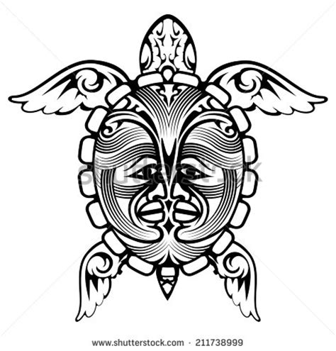 cool vector turtle polynesian tattoo on stock vector