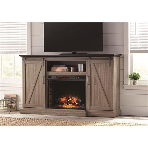 Home Depot Electric Fireplace Tv Stand by Home Decorators Collection Chestnut Hill 68 In Tv Stand Electric Fireplace With Sliding Barn