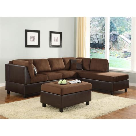 brown microfiber sectional homesullivan chocolate microfiber sectional 409909ch 3 sec