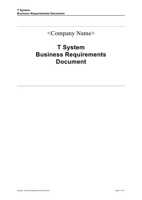 templates of business documents sle business requirement document