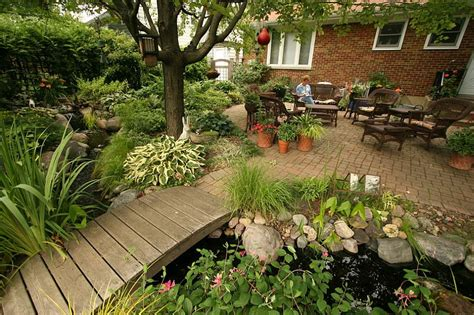 small garden landscape with outdoor living bridge