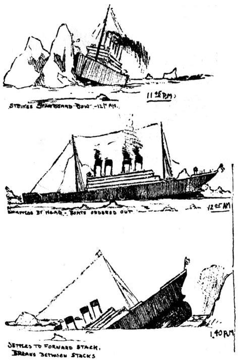 titanic boat sketch sketches of the titanic sinking 1912 click americana