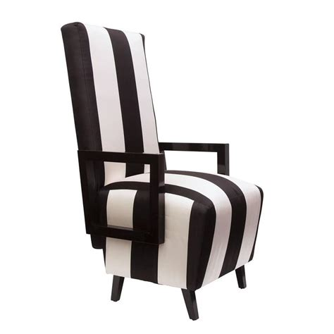 White High Back Dining Chairs High Back Dining Chairs In Black And White Stripped Silk Pair For Sale At 1stdibs