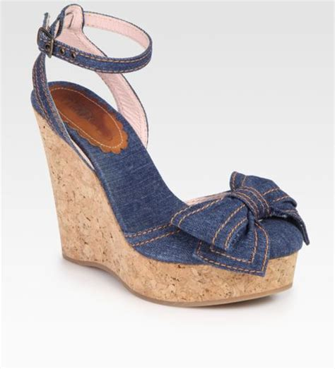 valentino denim wedge bow sandals in blue denim lyst