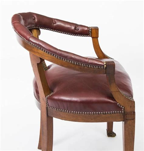Furniture Chair Desk Empire Style Antique Second Empire Mahogany Tub Arm Desk Chair Circa 1850 For Sale At 1stdibs