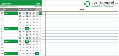 Calendario Octubre 2017 Excel Plantillas Calendario En Excel 2017 Ayuda Excel