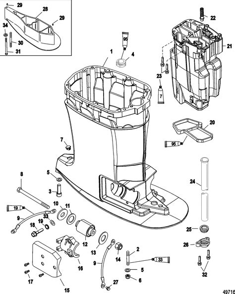 mercury optimax parts diagram driveshaft housing and exhaust for mercury 200