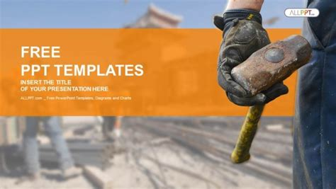 cement ppt themes free download construction worker with sledge hammer powerpoint templates