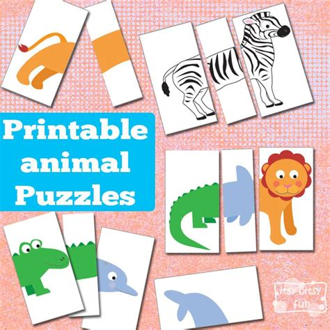 printable animal game pieces printable animal puzzles busy bag itsy bitsy fun