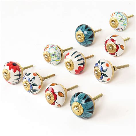 decorative knobs for kitchen cabinets buy set of 10 round floral kitchen cabinet door handles