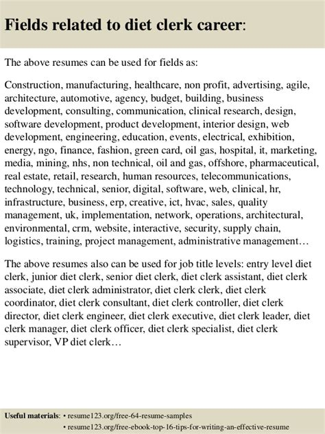 top 8 diet clerk resume sles