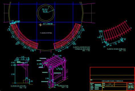 detail circular pergola  autocad  cad