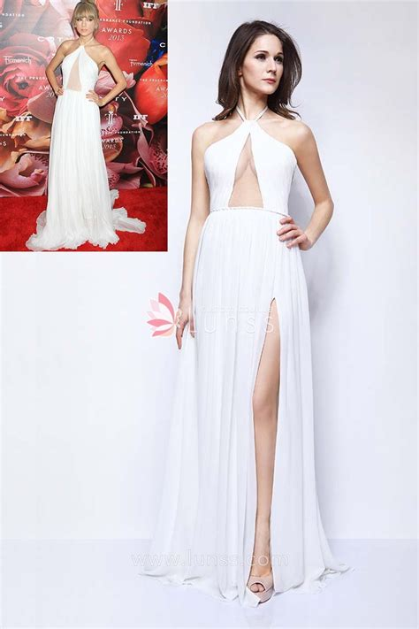 taylor swift prom dress white chiffon halter a line celebrity prom dress taylor
