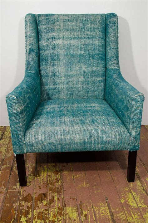 Teal Print Chair Indian Dhurrie Upholstered Teal Arm Chair At 1stdibs