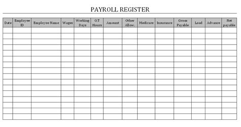 payroll register template payroll register