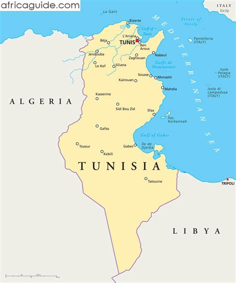 tunisia on map tunisia guide