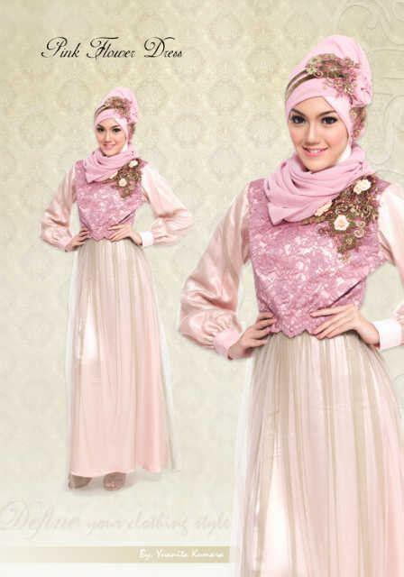 Gaun Muslim Fatimah Flower define pink fower pusat busana gaun pesta muslim modern