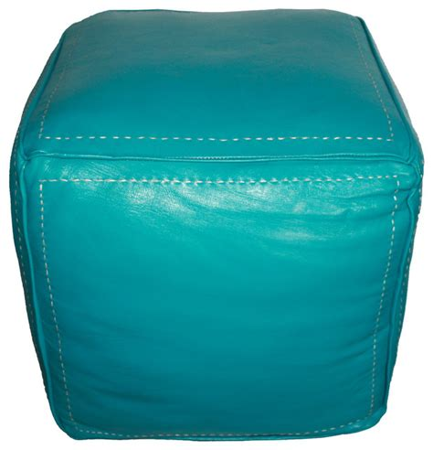turquoise ottoman moroccan square leather ottoman turquoise modern