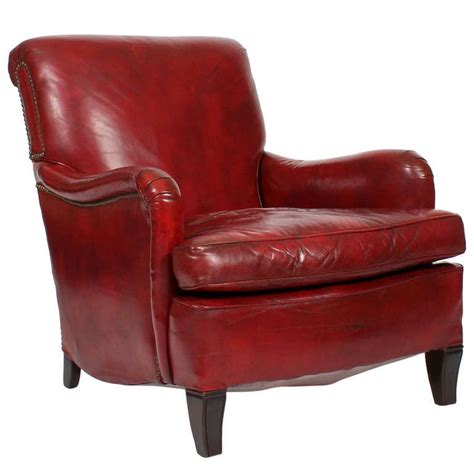 armchair red comfy vintage red leather club or armchair at 1stdibs