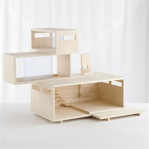 contemporary doll house land of nod exclusive dollhouse modern natural wood doll house modern wood