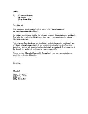 Employee Misbehavior Letter Sles