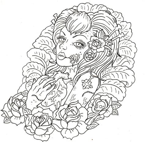 tattoo girl coloring page 225 best coloring pages images on pinterest coloring