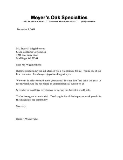 negative business letter sles sle bad news letter