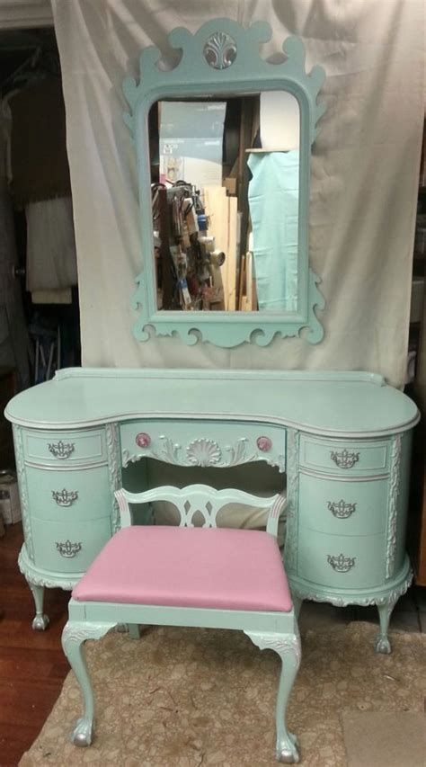 Shabby Chic Vanity Table Circa 30s Antique Chippendale Vanity Aqua Blue Pink Silver Ornate Salvaged Shabby Chic