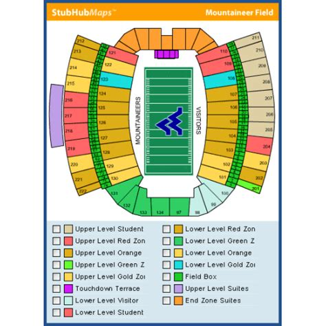 mountaineer field seating chart pin morgantown schedule on