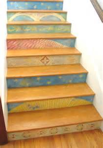 Hand painted stair risers eclectic staircase los angeles by