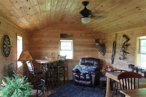 Garage Conversion Designs man cave pine paneled shed is a private wooden oasis