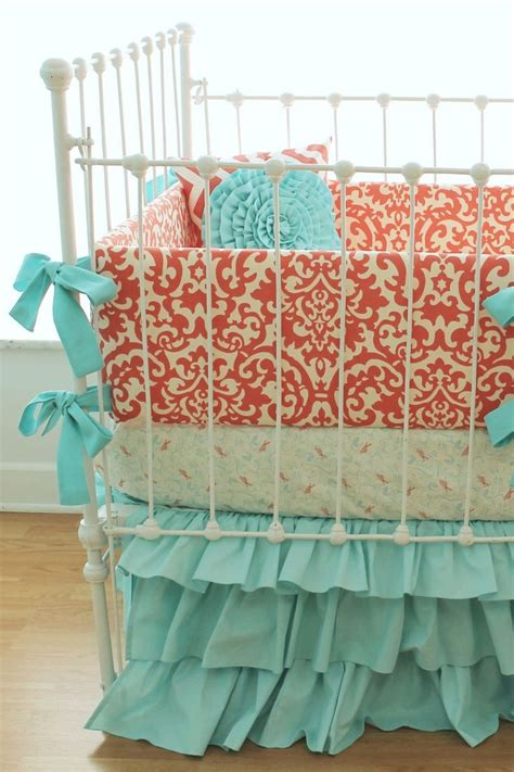 aqua and coral bedding coral crib bedding coral aqua damask ruffles 3 piece sert