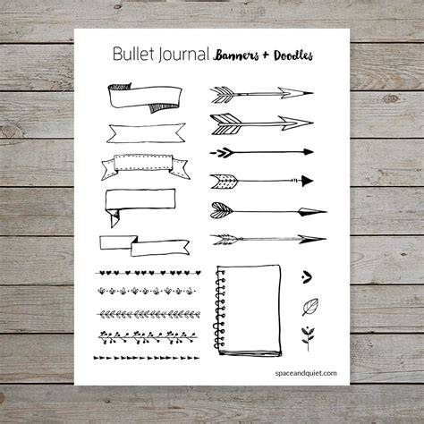 doodle for template free bullet journal printable banners and doodles