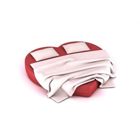 heart shaped bed red heart shaped mattress bed 3d model