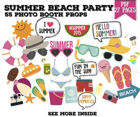 printable photo booth props beach summer beach party photo booth props set 55 piece