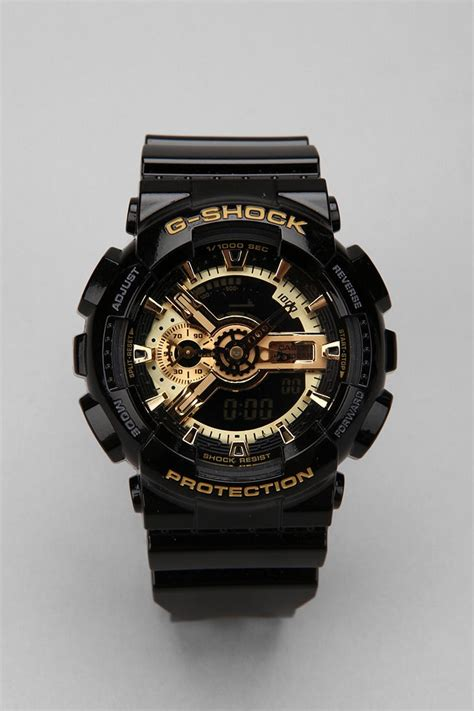 g shock black and gold ga110