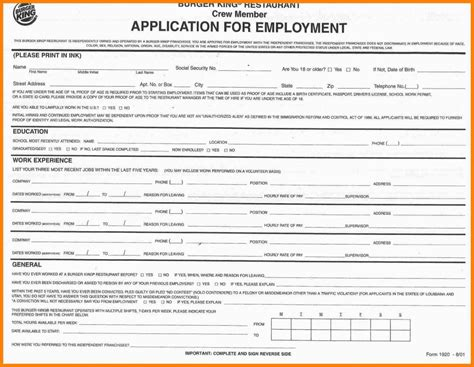 printable job application for taco bell generic job application form template business