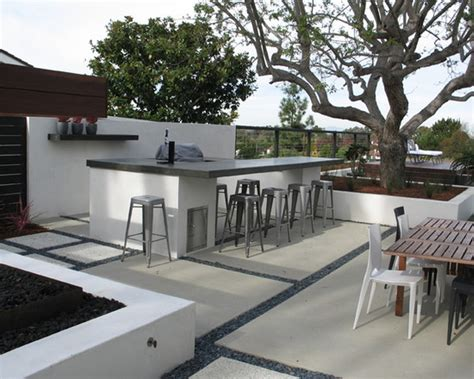 design l sted concrete floor with l shaped outdoor kitchen