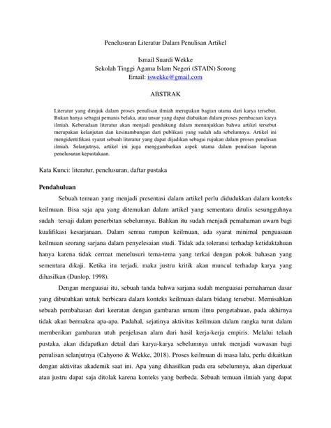 (PDF) Penelusuran Literatur Dalam Penulisan Artikel