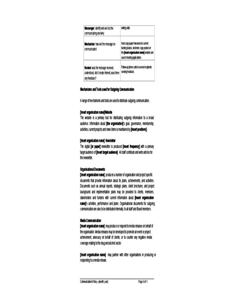 communication policy template communications policy sle free