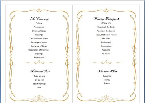 free printable wedding program templates word free ms word family wedding program template formal word