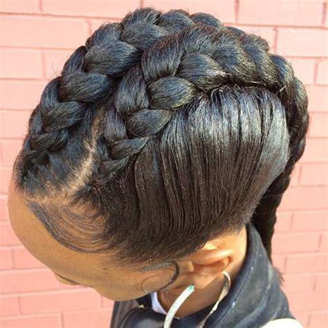 hairstyle with 2 shoulder braids 1 goddess braid hairstyles eye catching goddess braids