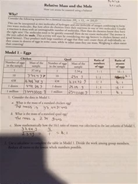 Relative Mass And The Mole Worksheet Answers by S Reflective