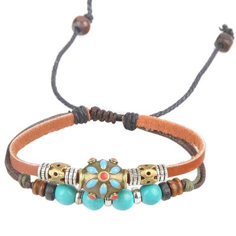 beaded leather bracelet adjustable hemp leather bracelet wristband mens womens