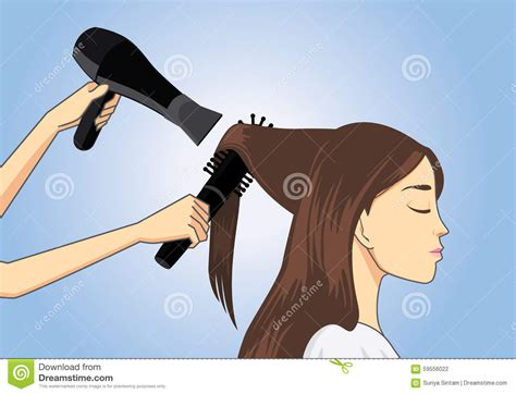 Hair Dryer Customer Care by Customer To Get A Salon Stock Vector Image