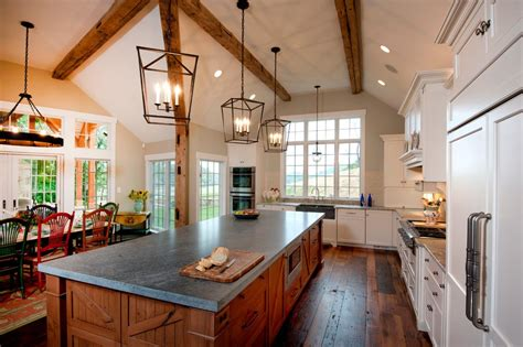 Kitchen Island Lighting For Vaulted Ceiling Chandelier For Sloped Ceiling Kitchen Rustic With Recessed Lighting Kitchen Island Exposed Beams