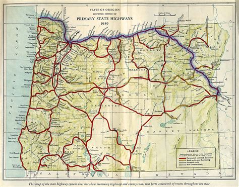 oregon state map road maps of oregon state