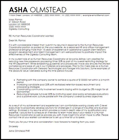 Cover Letter Sle To Human Resources Human Resources Coordinator Cover Letter Sle Livecareer