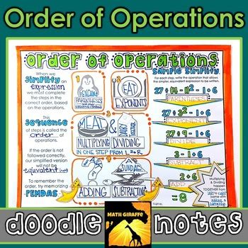 doodle guide in order order of operations doodle notes by math giraffe tpt
